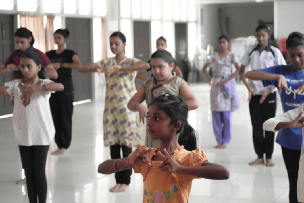 First day class in SRJK(T) Kajang, learning first position and first steps in Indian Classical dance.